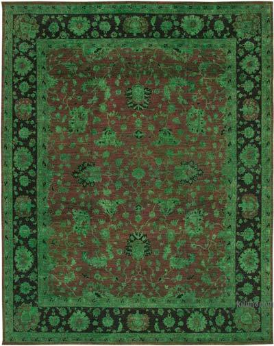 """Green New Hand-Knotted Wool Oushak Rug - 11' 3"""" x 14' 6"""" (135 in. x 174 in.)"""