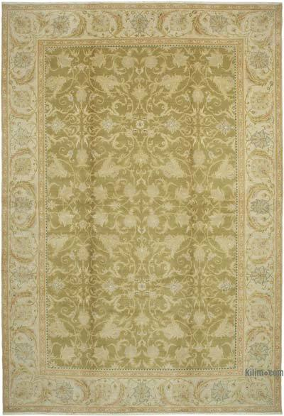 Bej, Yeşil Yeni El Dokuma Uşak Halısı - 365 cm x 530 cm