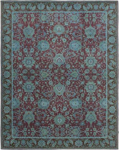"""Red, Blue New Hand-Knotted Wool Oushak Rug - 11' 8"""" x 13' 11"""" (140 in. x 167 in.)"""