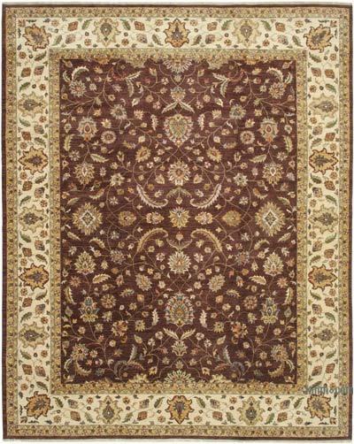 Kahverengi, Bej Yeni El Dokuma Uşak Halısı - 361 cm x 452 cm