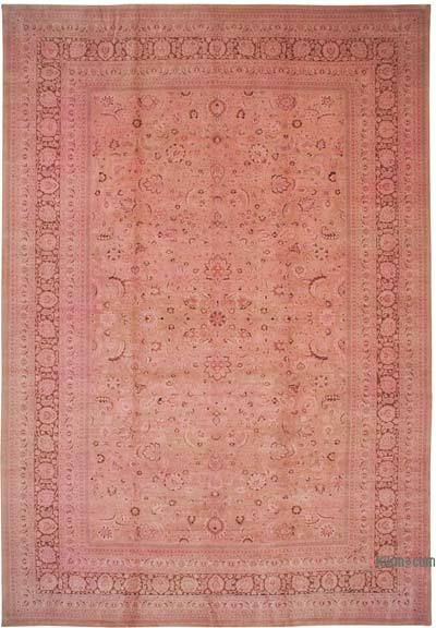 """Pink New Hand-Knotted Wool Oushak Rug - 13'  x 18' 11"""" (156 in. x 227 in.)"""