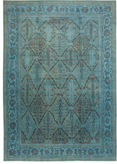 """Blue New Hand-Knotted Wool Oushak Rug - 13' 6"""" x 19' 6"""" (162 in. x 234 in.)"""