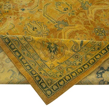 """Yellow New Hand-Knotted Wool Oushak Rug - 13' 10"""" x 19' 9"""" (166 in. x 237 in.) - K0056616"""