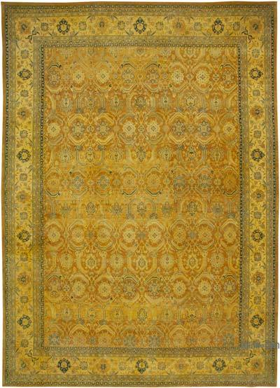 """Yellow New Hand-Knotted Wool Oushak Rug - 13' 10"""" x 19' 9"""" (166 in. x 237 in.)"""