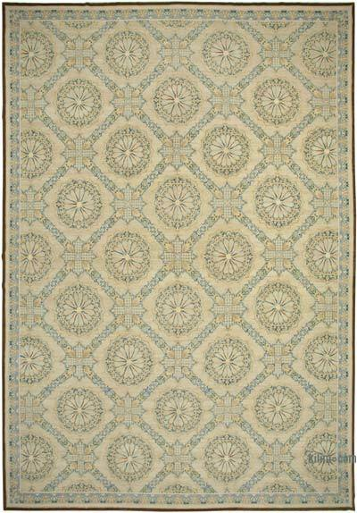 """Beige, Purple New Hand-Knotted Wool Oushak Rug - 13' 8"""" x 20' 2"""" (164 in. x 242 in.)"""