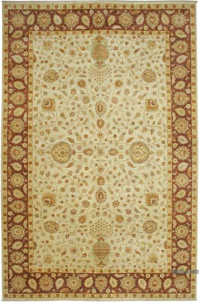 Bej, Kırmızı Yeni El Dokuma Uşak Halısı - 364 cm x 560 cm