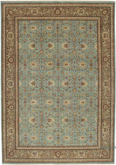 """Brown, Blue New Hand-Knotted Wool Oushak Rug - 10' 8"""" x 15' 5"""" (128 in. x 185 in.)"""