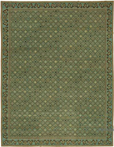 """Green New Hand-Knotted Wool Oushak Rug - 12' 2"""" x 15' 9"""" (146 in. x 189 in.)"""