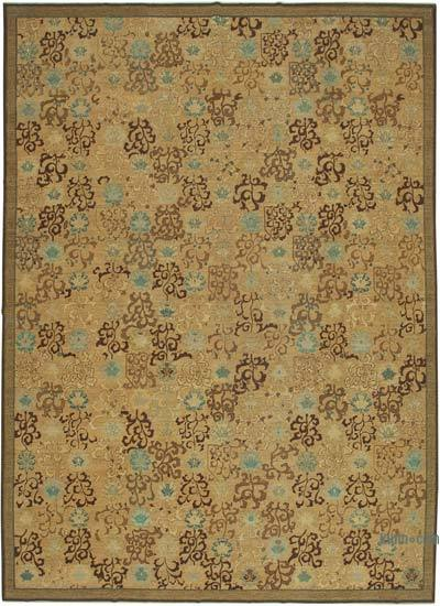 """Beige, Brown New Hand-Knotted Wool Oushak Rug - 11' 9"""" x 16' 3"""" (141 in. x 195 in.)"""