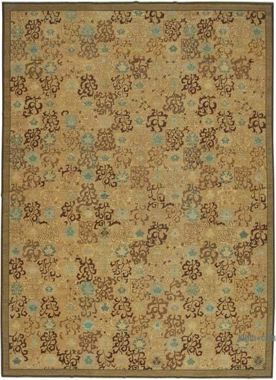 Beige, Marrón Yeni El Dokuma Uşak Halısı - 359 cm x 495 cm