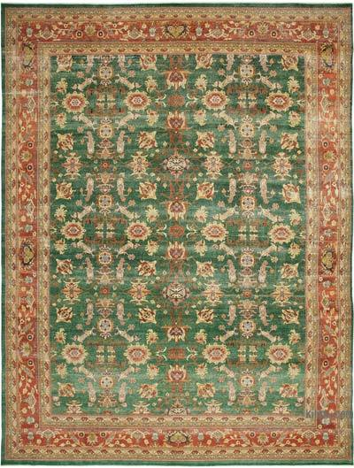 """Green, Red New Hand-Knotted Wool Oushak Rug - 13' 2"""" x 17' 9"""" (158 in. x 213 in.)"""