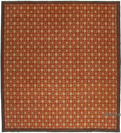 """Red New Hand-Knotted Wool Oushak Rug - 12' 1"""" x 13' 5"""" (145 in. x 161 in.)"""