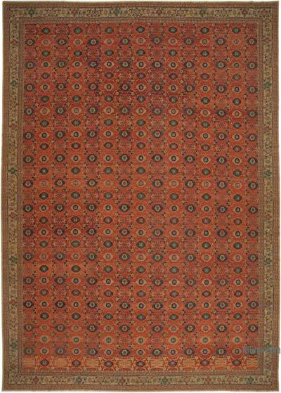 """Red New Hand-Knotted Wool Oushak Rug - 13' 9"""" x 19' 9"""" (165 in. x 237 in.)"""