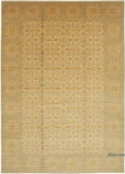 Bej Yeni El Dokuma Uşak Halısı - 343 cm x 480 cm