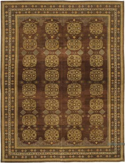 """Brown, Yellow New Hand-Knotted Wool Oushak Rug - 8' 11"""" x 11' 9"""" (107 in. x 141 in.)"""