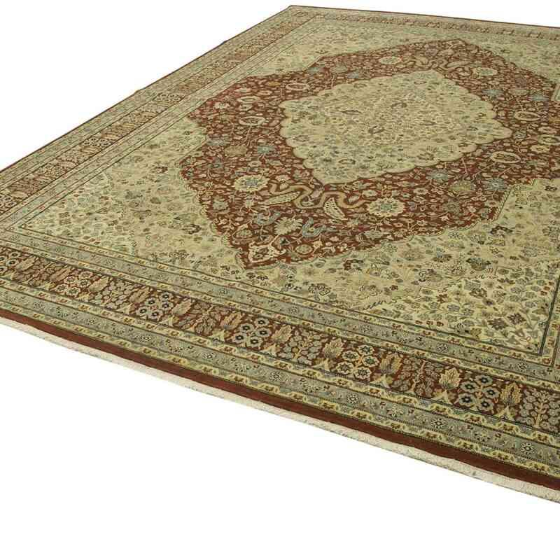Bej, Kırmızı Yeni El Dokuma Uşak Halısı - 298 cm x 411 cm - K0056670