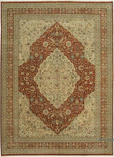 Bej, Kırmızı Yeni El Dokuma Uşak Halısı - 298 cm x 411 cm