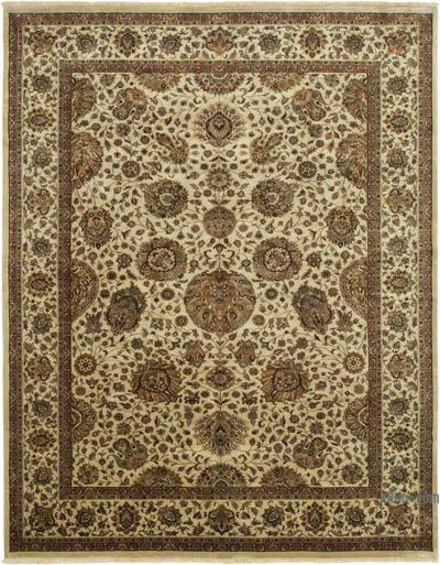 Bej Yeni El Dokuma Uşak Halısı - 274 cm x 366 cm