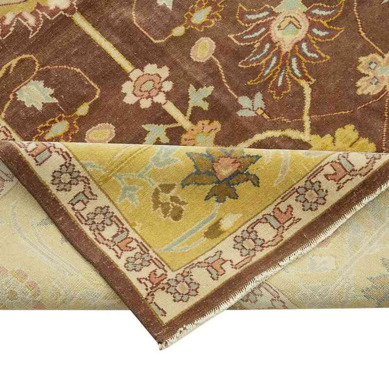 Kahverengi, Sarı Yeni El Dokuma Uşak Halısı - 328 cm x 415 cm - K0056680