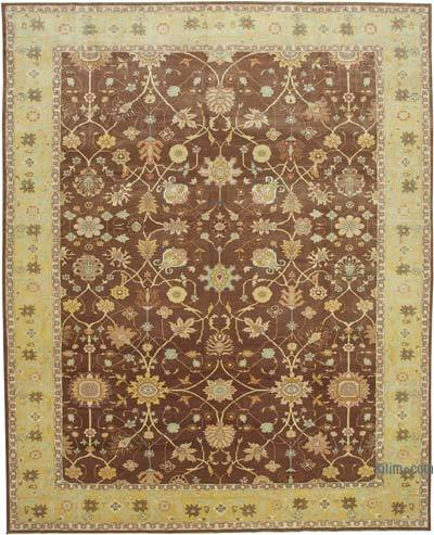 """Brown, Yellow New Hand-Knotted Wool Oushak Rug - 10' 9"""" x 13' 7"""" (129 in. x 163 in.)"""