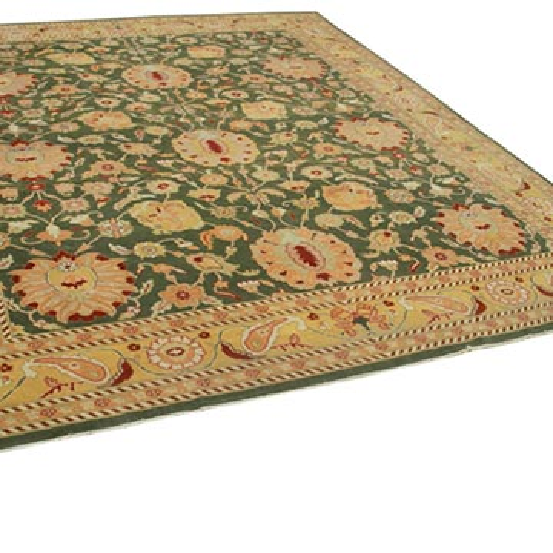 Sarı, Yeşil Yeni El Dokuma Uşak Halısı - 318 cm x 370 cm - K0056686