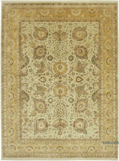"""Beige, Yellow New Hand-Knotted Wool Oushak Rug - 8' 11"""" x 12'  (107 in. x 144 in.)"""
