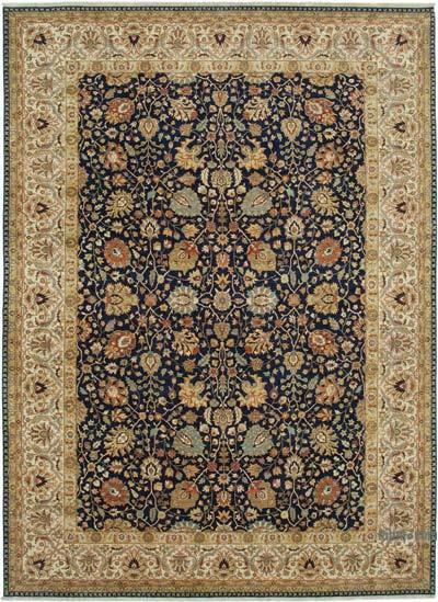 Lacivert, Bej Yeni El Dokuma Uşak Halısı - 310 cm x 425 cm