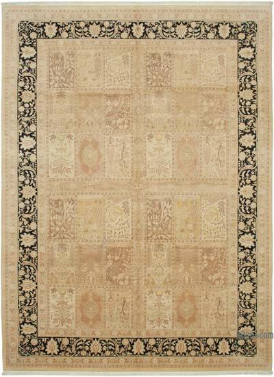 """Beige, Black New Hand-Knotted Wool Oushak Rug - 10' 1"""" x 13' 10"""" (121 in. x 166 in.)"""