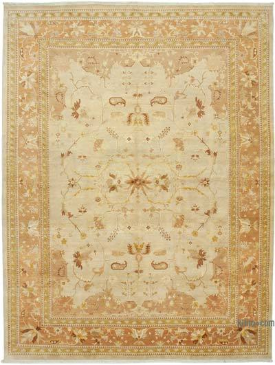 """Beige, Yellow New Hand-Knotted Wool Oushak Rug - 10' 2"""" x 13' 9"""" (122 in. x 165 in.)"""
