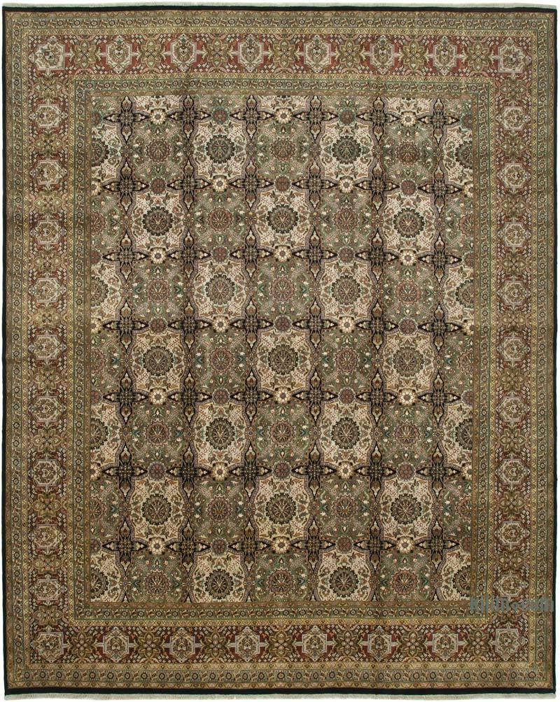 Yeşil Yeni El Dokuma Uşak Halısı - 360 cm x 446 cm - K0056700