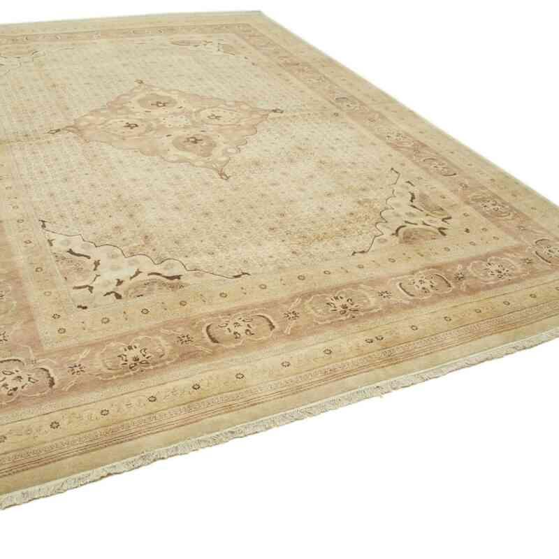 Bej, Kahverengi Yeni El Dokuma Uşak Halısı - 306 cm x 417 cm - K0056703