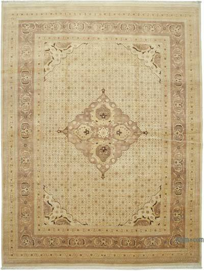 """Beige, Brown New Hand-Knotted Wool Oushak Rug - 10'  x 13' 8"""" (120 in. x 164 in.)"""