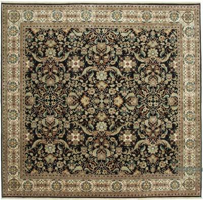 """Black New Hand-Knotted Wool Oushak Rug - 12' 4"""" x 11' 11"""" (148 in. x 143 in.)"""