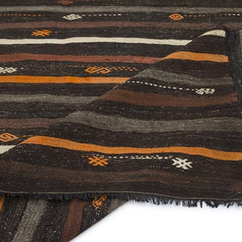 """Brown Vintage Anatolian Kilim Rug - 7' 3"""" x 9' 11"""" (87 in. x 119 in.) - K0056723"""
