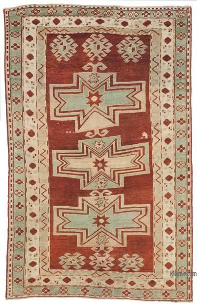 "Vintage Caucasian Fahrola Kazak Rug - 5' 2"" x 8'  (62 in. x 96 in.)"