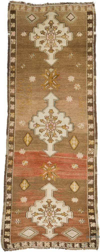"""Vintage Turkish Hand-Knotted Runner - 2' 6"""" x 6' 3"""" (30 in. x 75 in.)"""