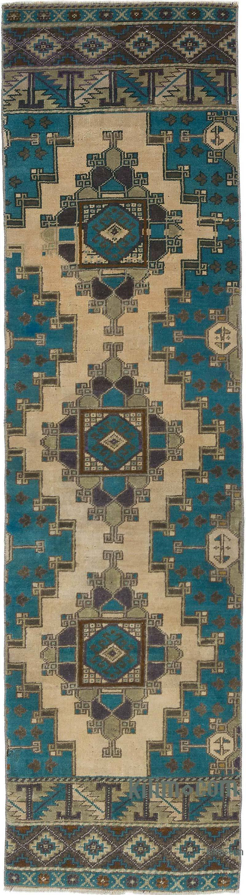 """Vintage Turkish Hand-Knotted Runner - 2'  x 7' 3"""" (24 in. x 87 in.) - K0056790"""