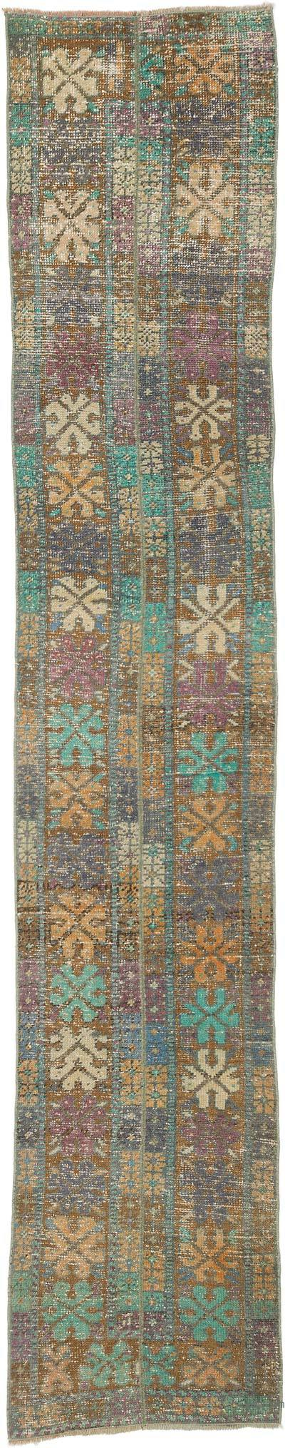 """Vintage Turkish Hand-Knotted Runner - 2'  x 10' 2"""" (24 in. x 122 in.)"""