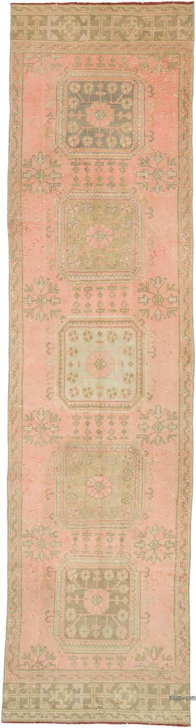 """Vintage Turkish Hand-Knotted Runner - 3' 1"""" x 10' 11"""" (37 in. x 131 in.)"""
