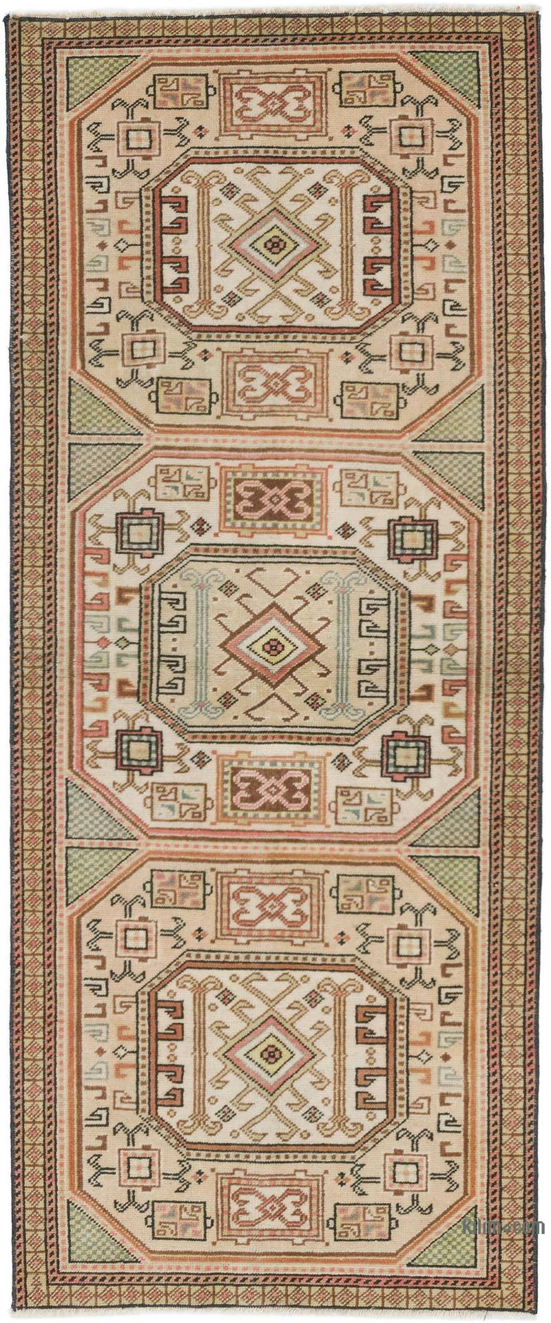 """Vintage Turkish Hand-Knotted Rug - 2' 1"""" x 5' 1"""" (25 in. x 61 in.) - K0056828"""