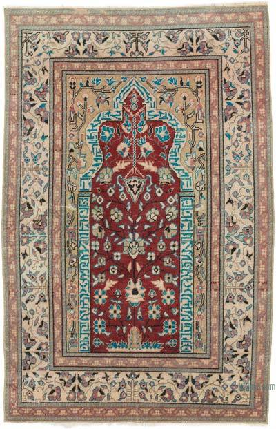 """Vintage Turkish Hand-Knotted Rug - 2' 11"""" x 4' 7"""" (35 in. x 55 in.)"""