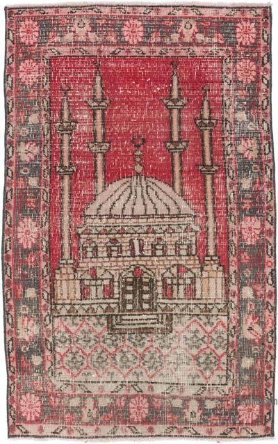 El Dokuma Vintage Halı - 77 cm x 120 cm
