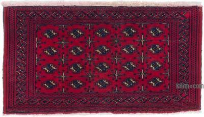 Kırmızı Afgan El Dokuma Halı - 99 cm x 54 cm