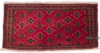 """Red Vintage Afghan Hand-Knotted Rug - 3' 3"""" x 1' 7"""" (39 in. x 19 in.)"""