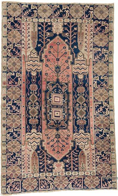 """Vintage Turkish Hand-Knotted Rug - 4' 7"""" x 7' 6"""" (55 in. x 90 in.)"""
