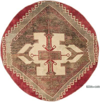 """Vintage Turkish Hand-Knotted Rug - 4' 9"""" x 4' 10"""" (57 in. x 58 in.)"""