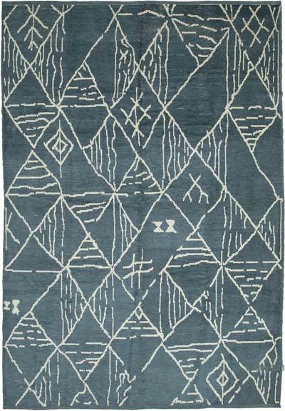 """Grey New Hand-Knotted Rug - 9' 10"""" x 13' 11"""" (118 in. x 167 in.)"""
