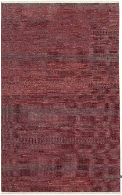 """Red New Hand-Knotted Rug - 5' 10"""" x 9' 3"""" (70 in. x 111 in.)"""