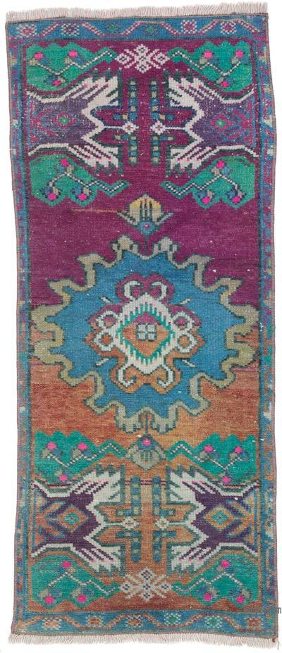 """Vintage Turkish Hand-Knotted Rug - 1' 4"""" x 3' 1"""" (16 in. x 37 in.)"""