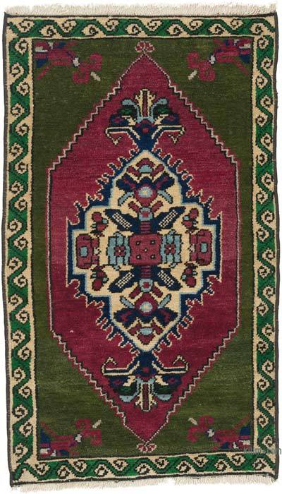 """Vintage Turkish Hand-Knotted Rug - 1' 8"""" x 2' 9"""" (20 in. x 33 in.)"""